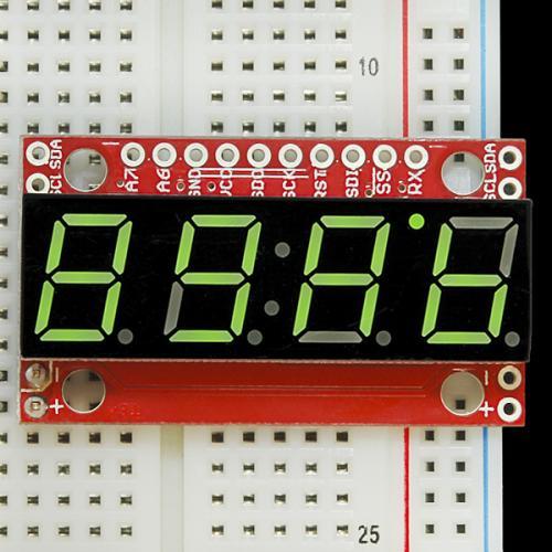 シリアル接続7セグメント4桁LED(緑)--販売終了