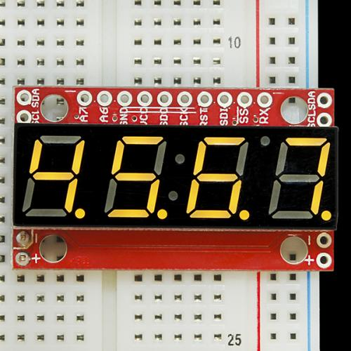 シリアル接続7セグメント4桁LED(黄)