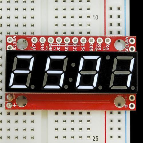 シリアル接続7セグメント4桁LED(白)