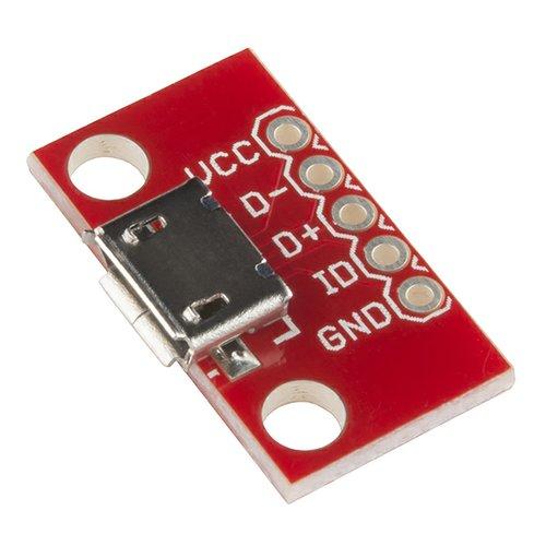 USBマイクロBコネクタ・ピッチ変換基板
