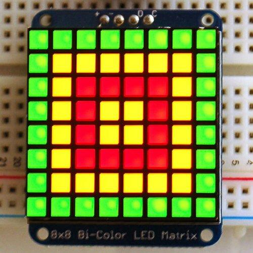 Adafruit I2C通信の8x8 1.2インチ2色LEDマトリックス基板(赤色/緑色)