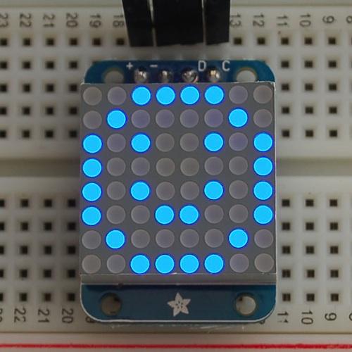 Adafruit I2C通信の8x8ミニLEDマトリックス基板(青色)