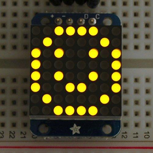 Adafruit I2C通信の8x8ミニLEDマトリックス基板(黄色)